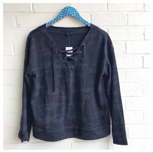 Sanctuary Camo Lace Up Black Grey Sweatshirt
